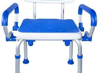 Pcp Shower Safety Chair Bath Bench With Backrest Swing Arms Adjustable Height