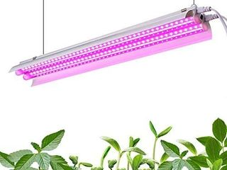 Monios l lED Grow light Full Spectrum  30W 2ft T5 High Output Integrated Fixture with Reflector  Hanging System Combo for Indoor Plants