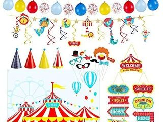 Decorlife Carnival Party Decorations  Circus Birthday Party Supplies for Kids  Carnival Backdrops  Happy Birthday Banners  Balloons  Photo Booth Props  Paper Hats  Doorway Curtain