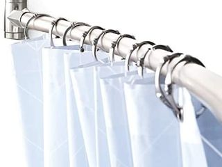 Adjustable Curved Shower Curtain Rod Rustproof Expandable Aluminum Metal Shower Rod 38 72 Inches Telescoping Design Exquisite Customizable for Bathroom Brushed Nickel