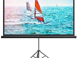 TaoTronics Projector Screen with Stand Indoor Outdoor PVC Projection Screen 4K HD 100  16  9 Wrinkle Free Design Easy to Clean  1 1Gain  160A Viewing Angle   Includes a Carry Bag  for Movie  Meeting