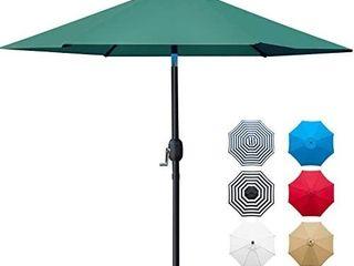 Sunnyglade 7 5  Patio Umbrella Outdoor Table Market Umbrella with Push Button Tilt Crank  6 Ribs  Dark Green