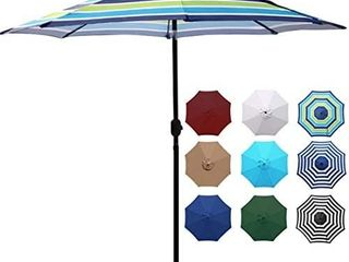 Blissun Outdoor Aluminum Patio Umbrella  Striped Patio Umbrella  Market Striped Umbrella with Push Button Tilt and Crank  Blue and Green