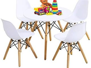 Kids Table and Chair Set  Kids Mid Century Modern Style Table Set for Toddler Children  Kids Dining Table and Chair Set  5 Piece Set  White  Table   4 Chairs  multi colored
