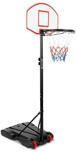 Best Choice Products Kids Height Adjustable Basketball Hoop  Portable Backboard System Stand w  2 Wheels  Fillable Base  Weather Resistant  Nylon Net   Multicolor