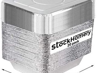 9 X 13 Half Size Disposable Aluminium Foil Baking Pans by StockHomery a Heavy Duty Foil Pans a Be it lunch Box or Food leftover Storage or Frying pan  50 count   with lid