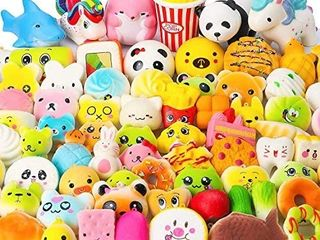 Random 25 Pcs Squeeze Toys  Birthday Gifts for Kids Party Favors  Slow Rising Simulation Bread Squeeze Stress Relief Toys Goodie Bags Egg Filler  Keychain Phone Straps