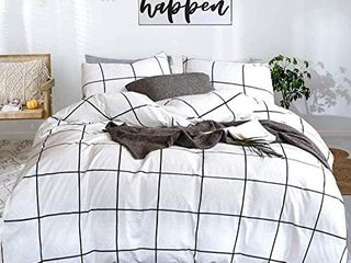 karever White Comforter Set Big Grid Plaid Printed Pattern Down Checkered Comforters Cotton Fabric with Soft Microfiber Insert Bedding Set for Kids Teens Adult  3pcs  Queen Size
