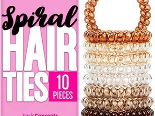 Spiral Hair Ties  16 Pieces  Coil Hair Ties for Thick Hair  Ponytail Holder Hair Ties for Women  Assorted Colors  No Crease Hair Ties  Phone Cord Hair Ties for all Hair Types with Plastic Spiral