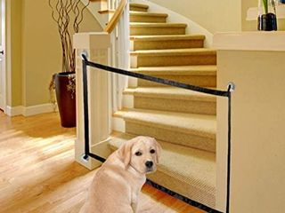 Magic Gate for Dogs  Updated Version  Pet Safety Gate  Portable Folding Mesh Safety Gates  Safe Guard Install Anywhere  Safety Fence for Hall Doorway Wide Black 43 Inches