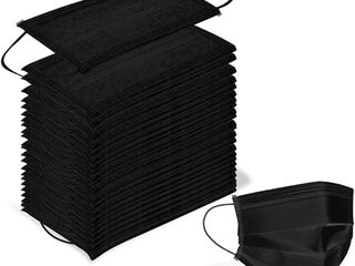 50 Pcs Disposable 3 Ply Earloop Face Masks  Suitable for Home  School  Office and Outdoors  Black