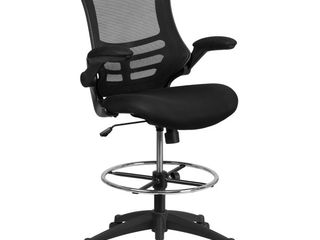 Flash Furniture Mid Back Black Mesh Ergonomic Drafting Chair with Adjustable Foot Ring and Flip Up Arms