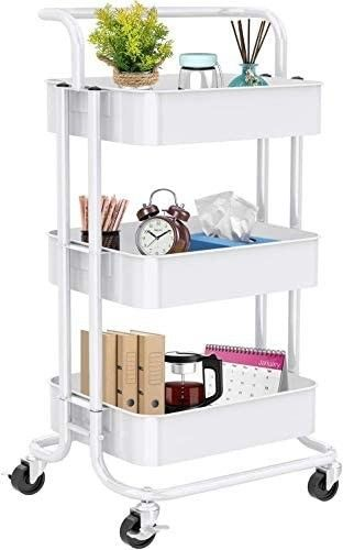 3 Tier Rolling Utility Cart  Multifunctional Metal Organization Storage Cart with 2 lockable Wheels for Office  Home  Kitchen  Bedroom  Bathroom  laundry Room by Pipishell  White