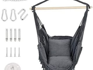 Patio Watcher Oversized Hammock Chair Hanging Rope Swing Seat with 2 Cushions and Hardware Kits  Perfect for Indoor  Outdoor  Home  Bedroom  Patio  Yardi1 4Deck  Garden  Gray