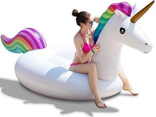 Pool Floats Unicorn Giant Inflatable Floatie for Pool Water Toys Ride On with Fast Valves large Rideable Blow Up Summer Beach Pool Party lounge Raft for Adult Kid