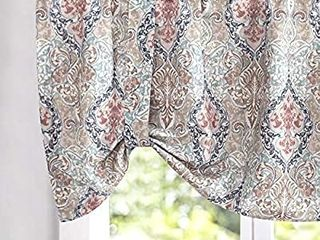 rinted Tie up Valances for Windows Multicolor linen Textured Adjustable Tie Up Shade Window Curtain Rod Pocket Medallion Tie up Valance Curtains 18 Inches long Green