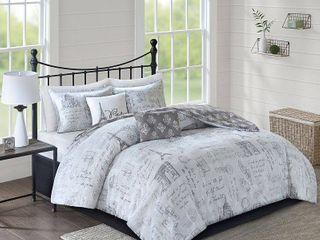 5pc Full Queen Apolline Reversible Comforter Set Gray Charcoal