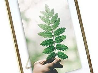 MIMOSA MOMENTS Gold Metal Floating Pressed Glass Picture Frame with Metal Easel  Photo Display for Desk  Gold  5x7