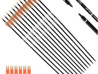 Tiger Archery 30Inch Carbon Arrow Practice Hunting Arrows with Removable Tips for Compound   Recurve Bow Pack of 12
