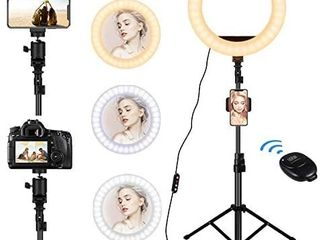 Ring light with Stand   12  Selfie Ring light  3 Phone Holders  30 Dimmable Ring lamp  lED Ring light for live