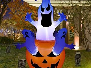lAOSSC 6 Foot Halloween Inflatable Pumpkin with 3 Ghosts Halloween Decorations for Indoor and Outdoor   lanterns lighted Holiday Home DAccor