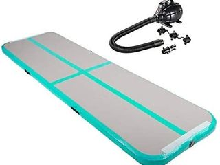 10ft Airtrack Tumbling Mat  Air Tumbling Floor Mat for Gymnastics Yoga Taekwondo Water Floating Camping Training with Electric Pump  Perfect for Home Use  Beach  Park and Pool   Green