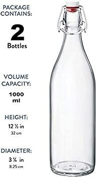 Bormioli Rocco Giara Clear Glass Bottle With Stopper  33 3 4 oz   2  Clear