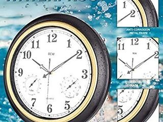 large Outdoor Clock  Waterproof Wall Clock with Thermometer   Hygrometer Combo  Weather Resistant Silent Metal Garden Clock for Patio  Pool  lanai  Fence  Porch  Home  18 Inch  Black Golden