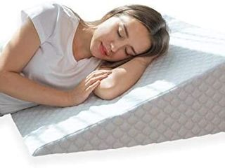Bed Wedge Pillow with 1 5 Inch Memory Foam Top   24 x 28 x 10 Inches  Removable and Washable Cover
