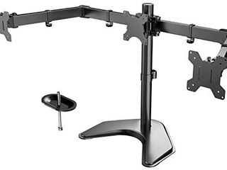 HUANUO Triple Monitor Stand   Free Standing Fully Adjustable Monitor Desk Mount