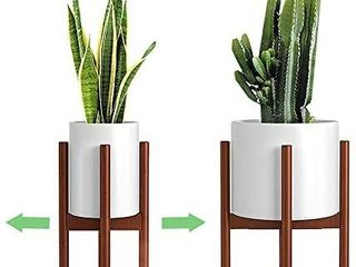 Adjustable Plant Stand  8 to 12 inches  Bamboo Mid Century Modern Plant Stand