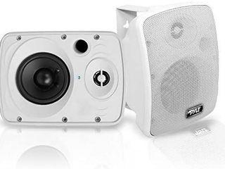 Outdoor Waterproof Wireless Bluetooth Speaker   5 25 Inch Pair 2 Way Weatherproof Wall Ceiling Mounted Dual Speakers w Heavy Duty Grill  Universal Mount  Patio  Indoor Use   Pyle PDWR54BTW  White