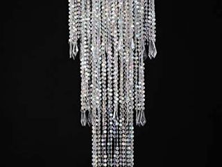 FlavorThings Sparkling Iridescent Acrylic Beaded Hanging Chandelier  W10 25 H30a i1 43 Tiers Beads Pendant Shade  Ceiling Chandelier lampshade with Acrylic Jewel Droplets  Beaded lampshade