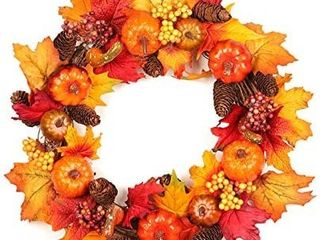 Thanksgiving Wreath for Front Door lighted Fall Harvest Wreath with Maple leaf for Front Door Wall Decor Thanksgiving Decorations   12 Inches