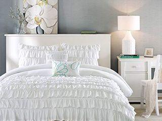 Intelligent Design Waterfall Comforter Reversible Solid lush Ruffled Stripe Shabby Chic Ultra Soft Microfiber Down Alternative Pleated Decor Pillow Bedding Set  Full Queen  White