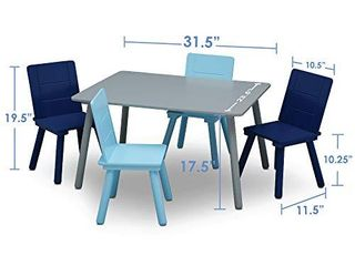 Delta Children Kids Table and Chair Set  4 Chairs Included    Ideal for Arts   Crafts  Snack Time  Homeschooling  Homework   More  Grey Blue
