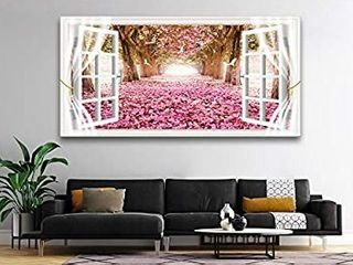 AH40174 Wall Art CanvasTrees and Pink Rose Paintings Printed Pictures Stretched and Framed Ready to Hang for Home Decorations Office Wall Decor Artwork 28x56inch