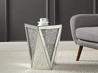 Mirrored End Table with Crystal Inlay  Square Modern Side Table Silver Accent Table  Drum End Table for living Room Bedroom from MIREO Fine Furniture