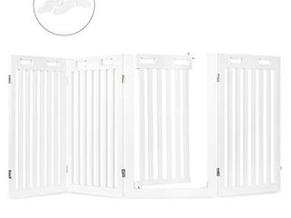 Arf Pets Freestanding Dog Gate with Walk Through Door  4 Pannel  Expands Up to 80  Wide  31 5  High   Bonus Set of Foot Supporters Included   White