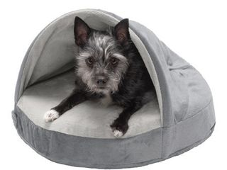 FurHaven Pet Dog Bed Cooling Gel Memory Foam Orthopedic Round Microvelvet Snuggery Pet Bed for Dogs   Cats  Gray  18 Inch