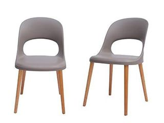 Amazon Brand   Rivet Henrik Modern Open Back Plastic Dining Chair  Set of 2  18 5 W  Mild Gray