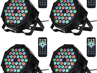 litake 36lED Par lights for Stage lighting with RGB Magic Effect by Remote and DMX Control for Party Show DJ Disco 4 Pack   NO POWER CORDS
