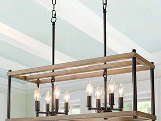 KSANA Farmhouse Chandelier for Dining Rooms  8 light Kitchen Island lighting  Faux Wood Rectangular Chandelier 26  in length  Brown