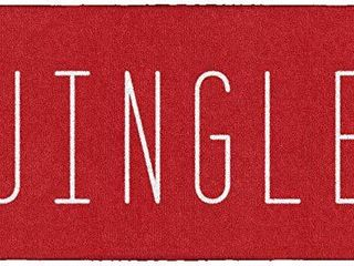 Brumlow MIllS Christmas Jingle Washable Festive Slogan Print Indoor or Outdoor Holiday Rug for living or Dining Room  Bedroom and Kitchen Area  20 x34  Red