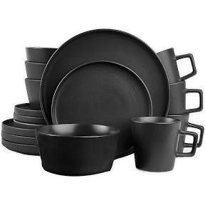 Stone lain Coupe Dinnerware Set  Service For 4  Matte Black