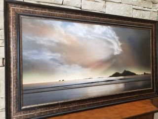 Ocean and Clouds   Framed Wall Art   55  x 31