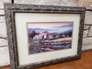 Countryside House with Crops   Framed Wall Art   17  x 13