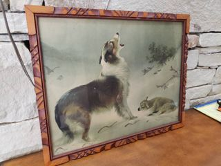 Dog and lamb in Snow   Framed Wall Art   21  x 17
