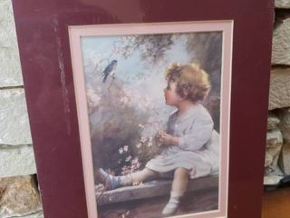 lot of 2 Girl and Blue Bird    Harvest Angel    Framed Wall Art   8  x 10  10  x 12 5
