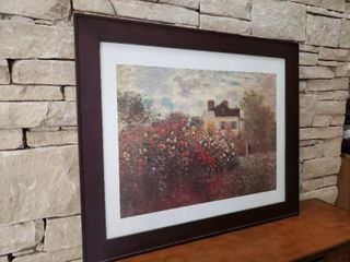 Rose Bushes and House   Framed Wall Art   35  x 29
